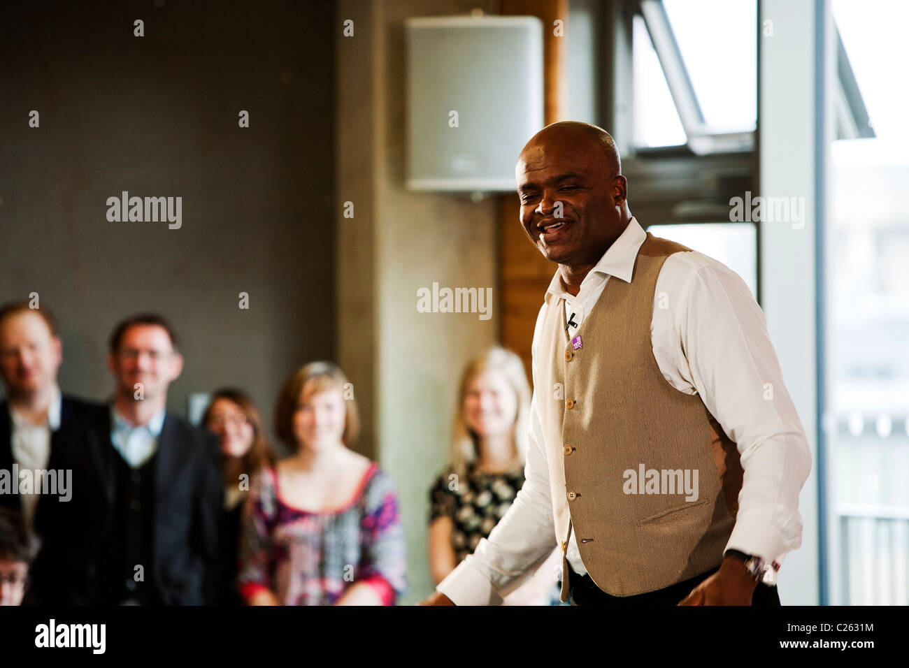 Kriss Akabusi gives a speech to show his support for the YES! to Fairer Votes campaign launched in London. - Stock Image