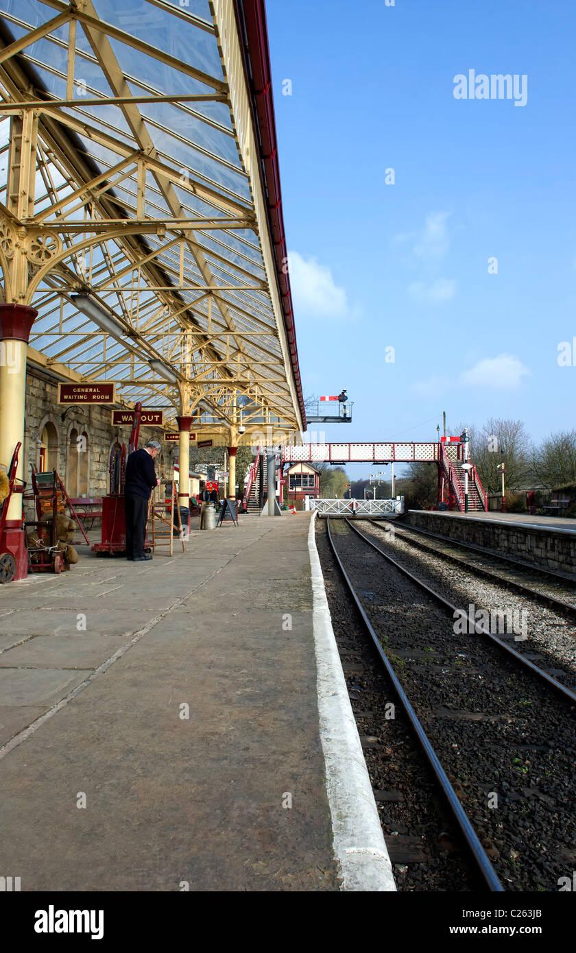 The platform at Ramsbottom Railway Station on the East Lancs Railway - Stock Image
