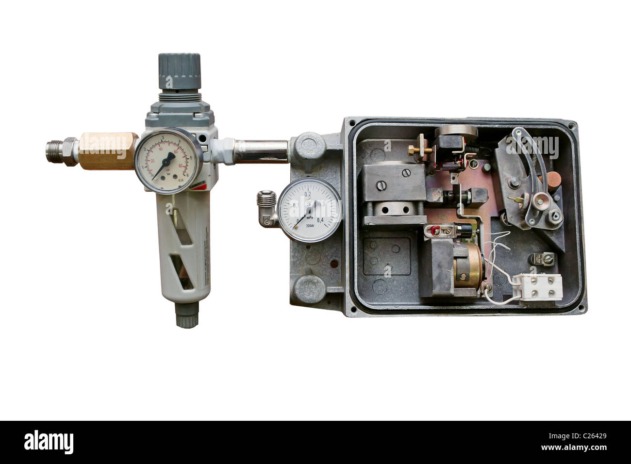 Mechanism to control the pneumatic valve. Isolated on white background. - Stock Image