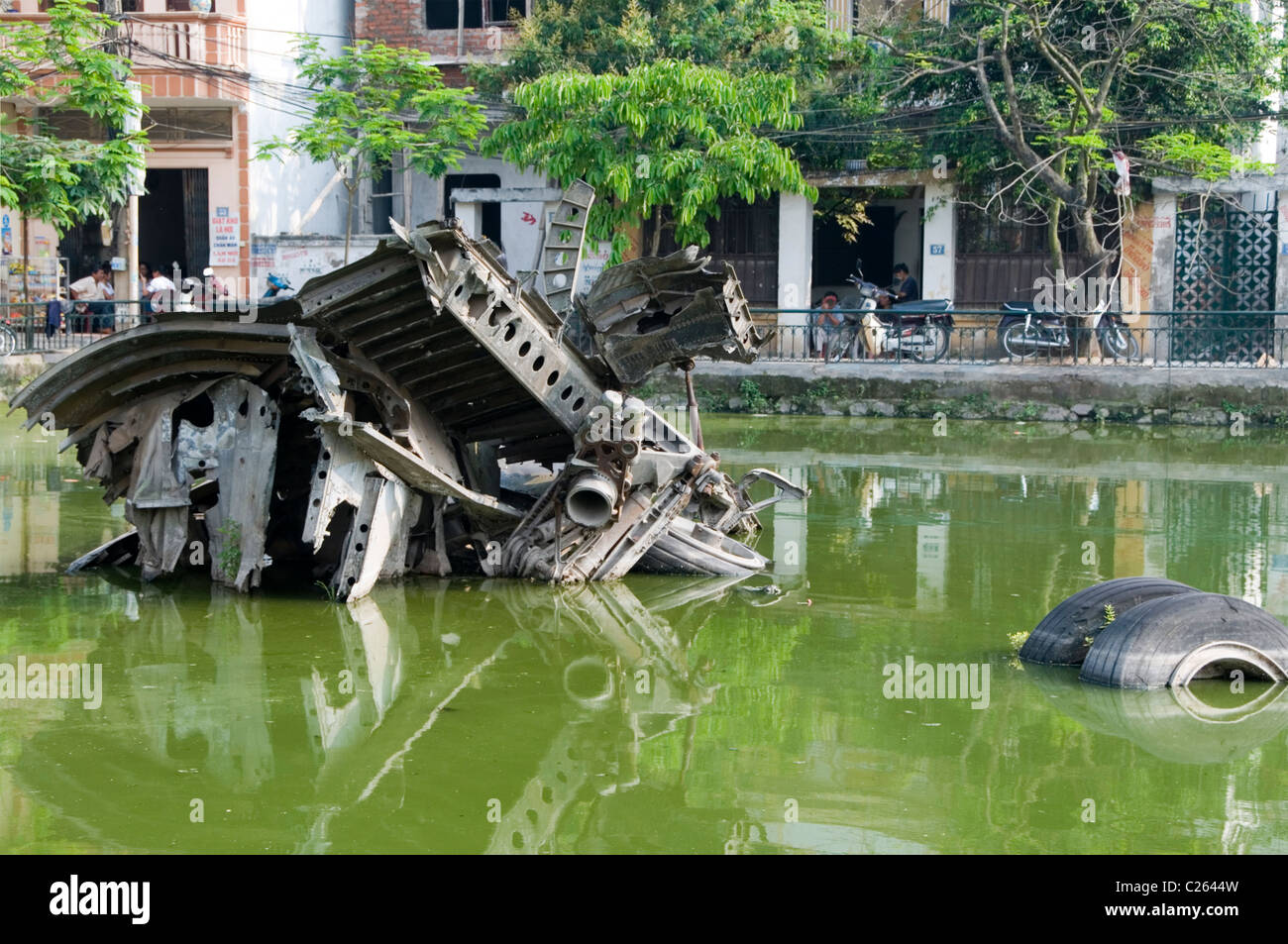 Wreckage of a downed US B-52 bomber in Huu Tiep Lake, Ngoc Ha District, Haoni - Stock Image