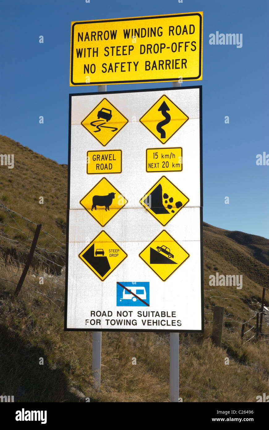 Comperhensive warning sign at the start of the hazardous Skippers Canyon Road, Central Otago, New Zealand - Stock Image