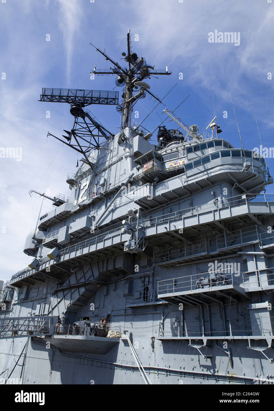 USS Hornet, US Navy Essex-class aircraft carrier - Alameda, California USA - Stock Image