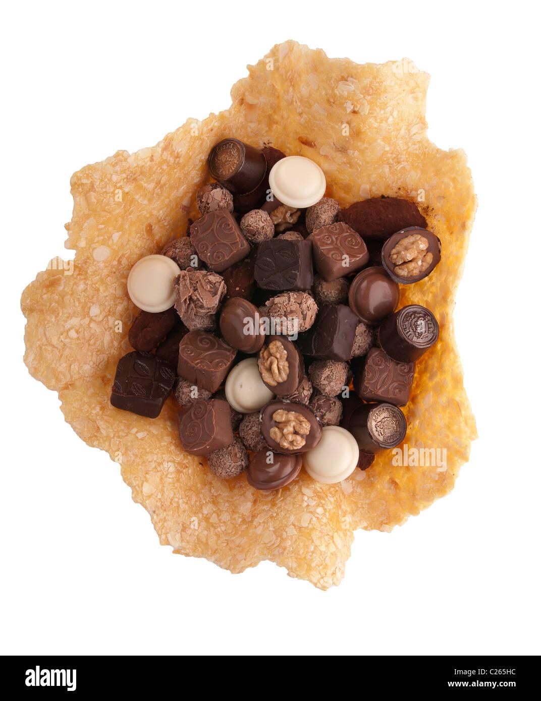 chocolate bonbons assorted,caramel Stock Photo
