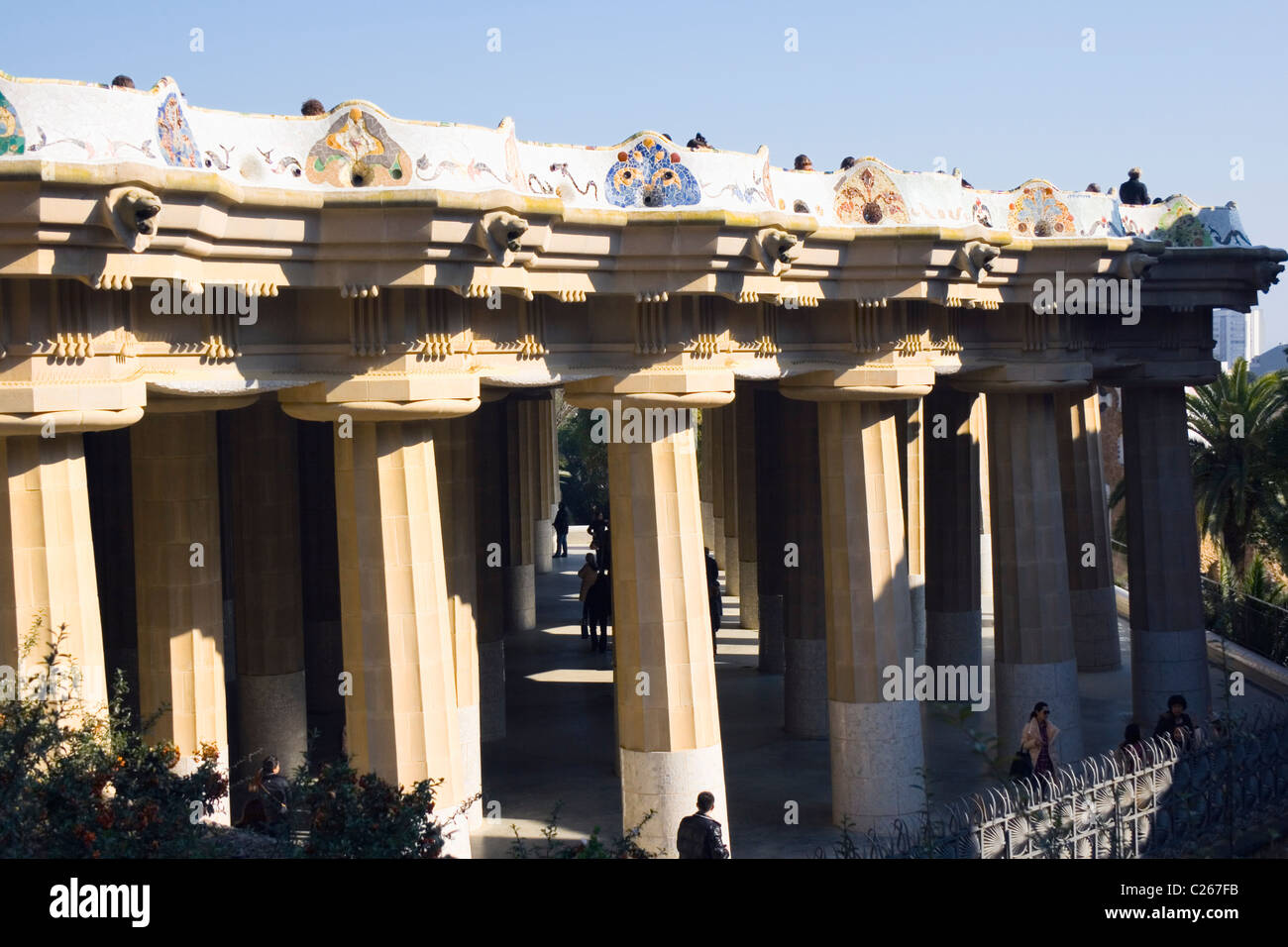 Barcelona, Spain. The Hall of the Hundred Columns in the Parc Guell. - Stock Image