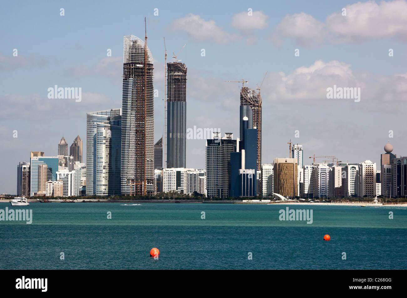 Skyline of Abu Dhabi, capital of United Arab Emirates. - Stock Image