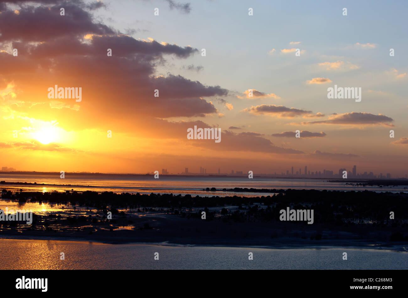 Skyline of Abu Dhabi, capital of United Arab Emirates. Stock Photo