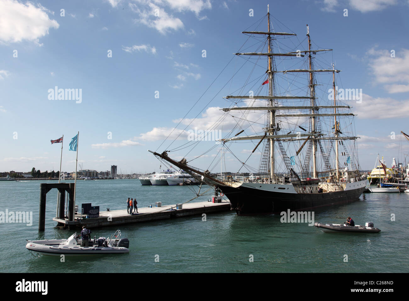 A Tall Ship moored in Gunwharf Quays, Portsmouth, Hampshire, England - Stock Image