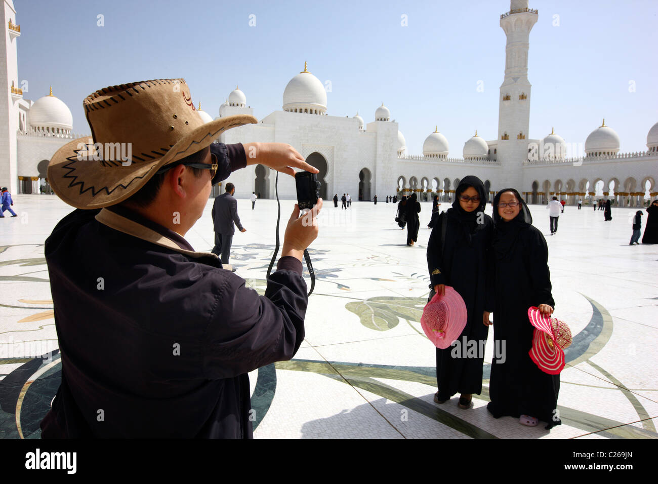 Sheikh Zayed Mosque, Abu Dhabi. Third biggest mosque in the world. Space for 10000 believers indoors and 30000 outdoors. Stock Photo