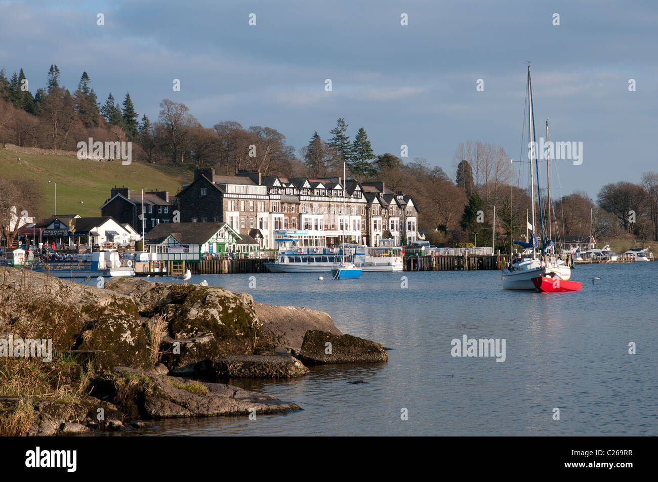 The peaceful scene of Waterhead the northern end of Lake Windermere in the English Lake District close to Ambleside - Stock Image