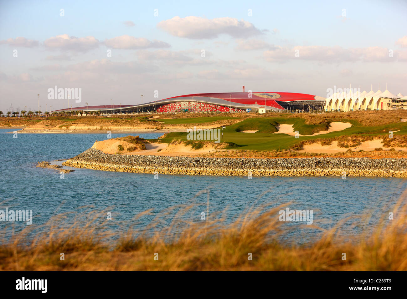Yas-Links golf course on Yas island, opposite of Abu Dhabi Fromula One race track, a traditional links course. Opened in 2010. Stock Photo