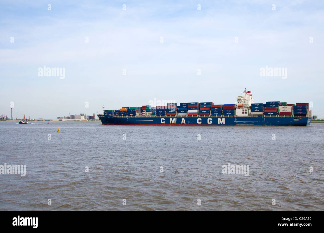 The containership Coral from CMA CGM in the harbor of Antwerp - Stock Image