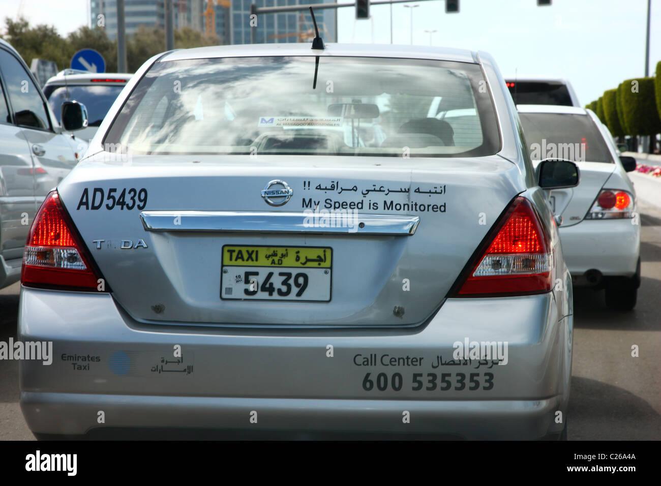 Taxi, GPS monitored, Abu Dhabi, United Arab Emirates - Stock Image