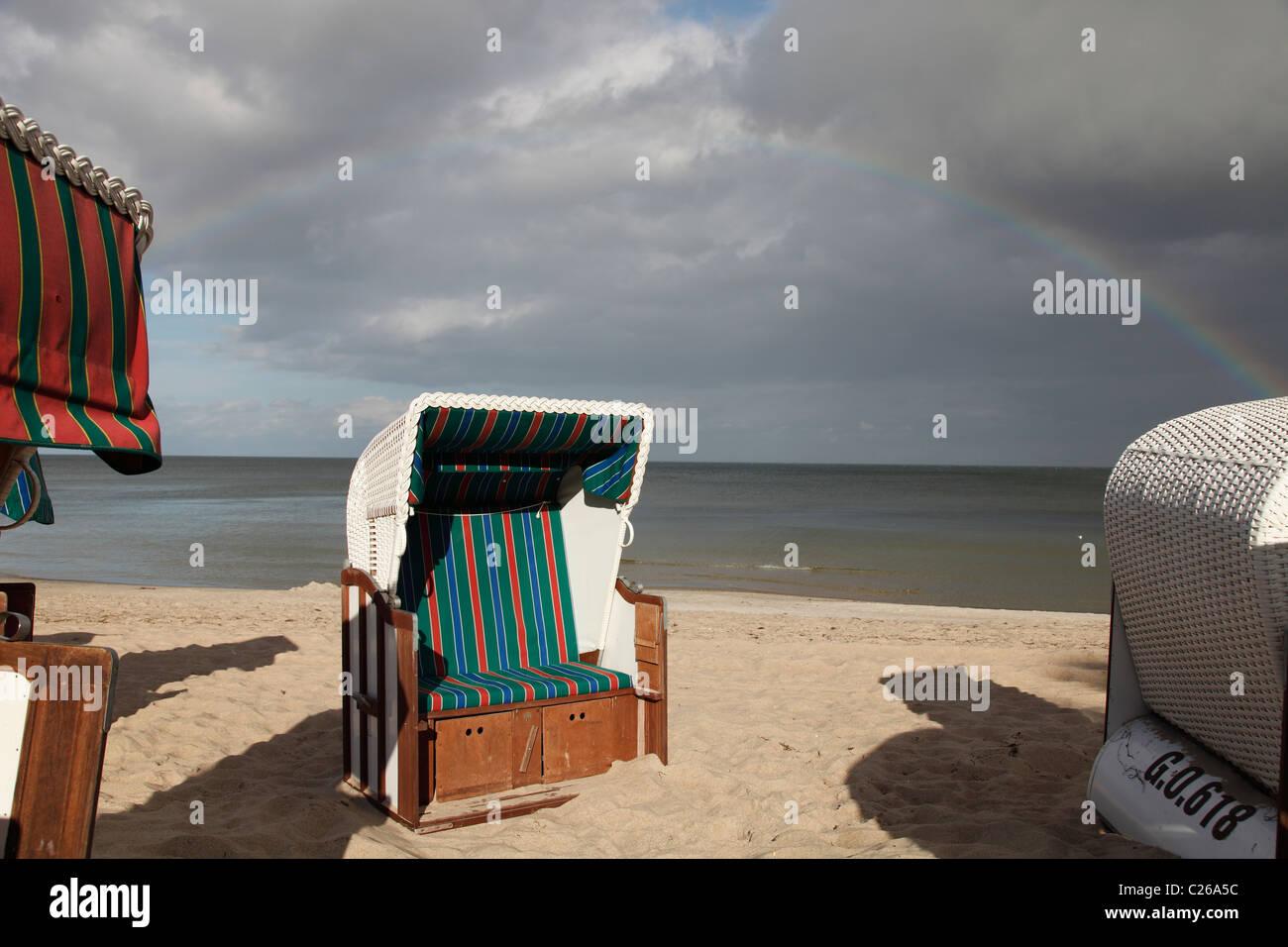 rainbow over Baltic Sea; Regenbogen über Ostsee - Stock Image