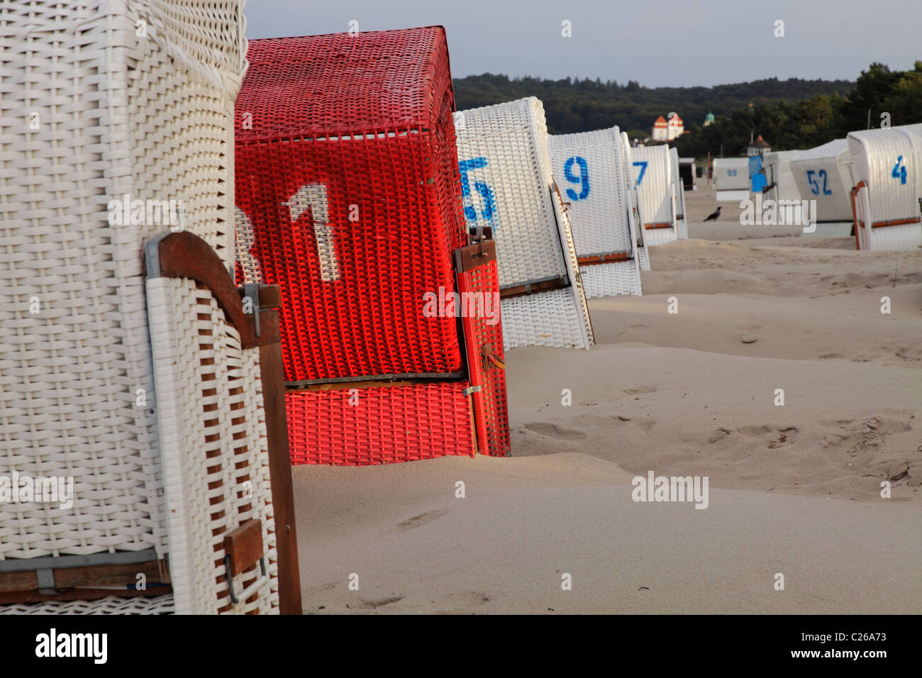 beach chairs at the Baltic Sea resort Binz - Stock Image