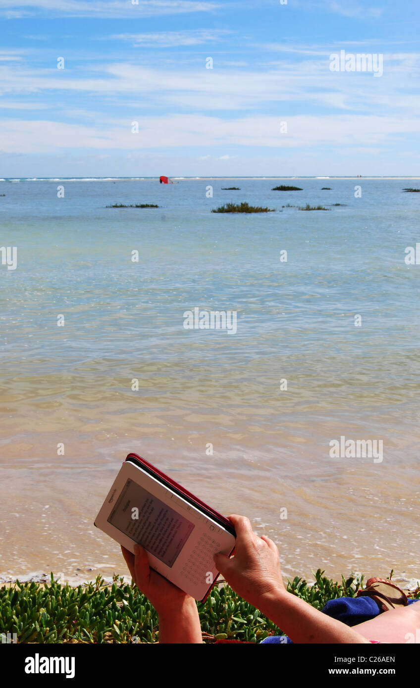 Changing the print size on an Amazon Kindle on the beach no
