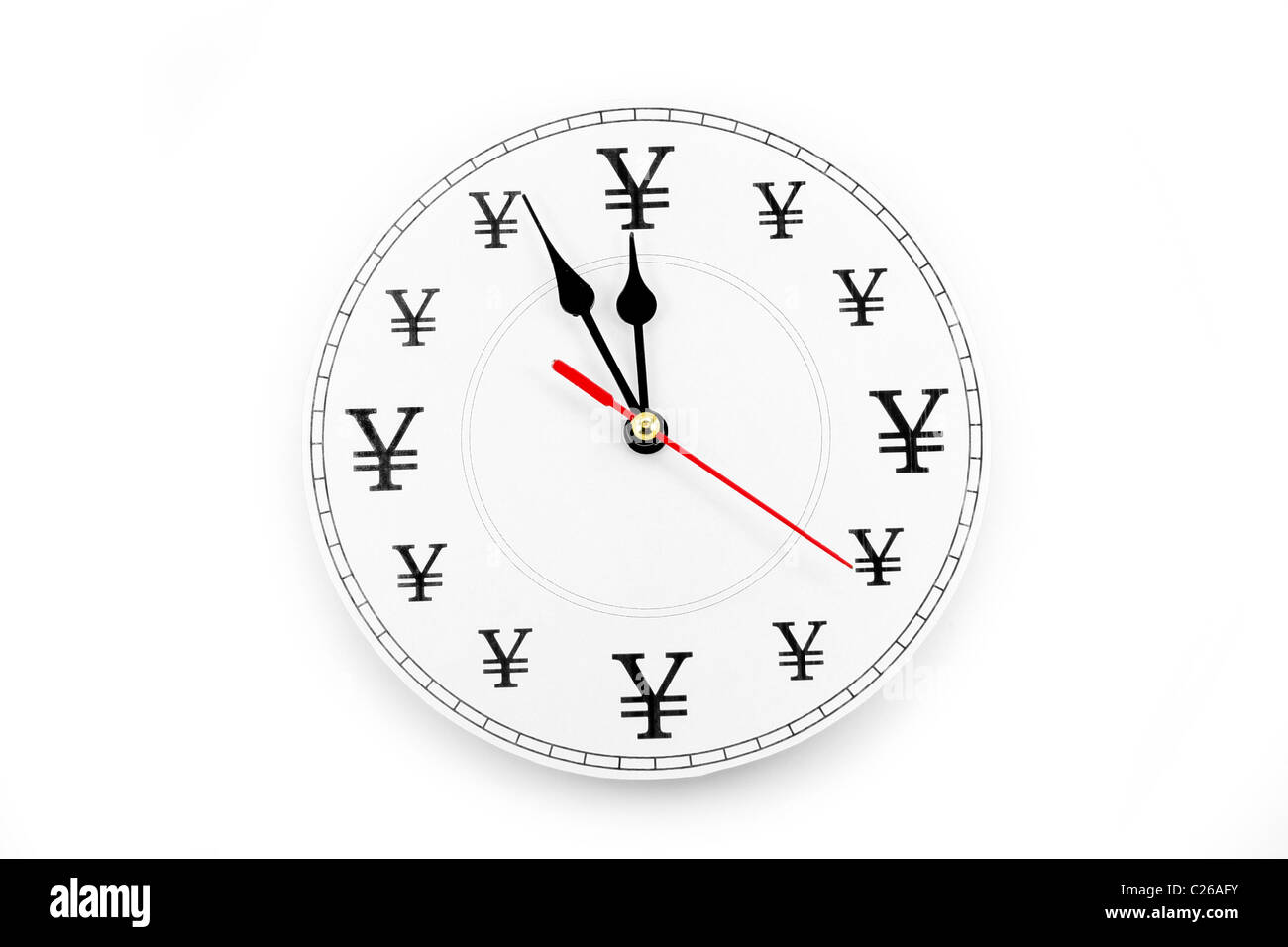 clock and Yen Sign, concept of time is money - Stock Image