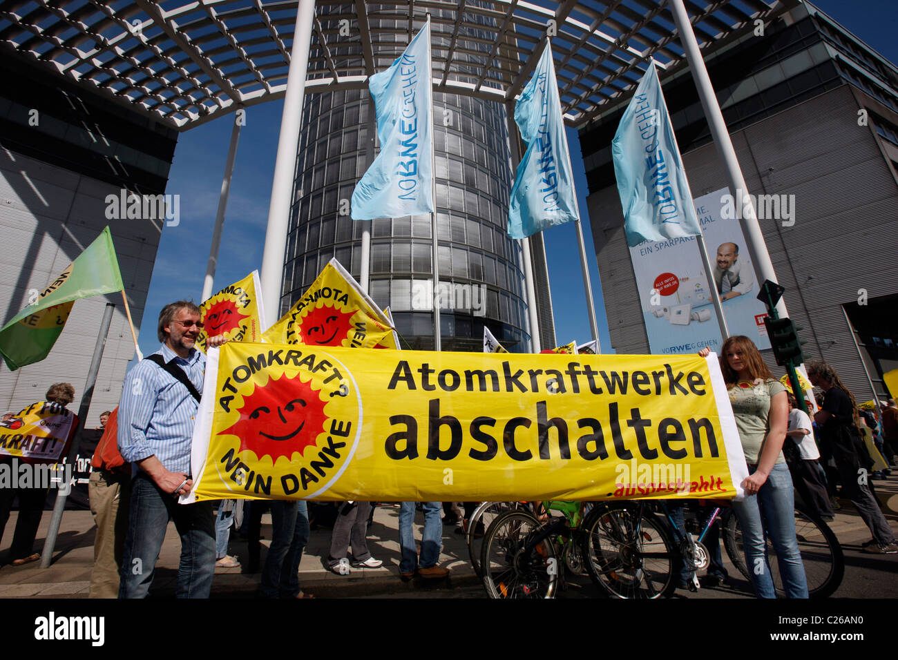 Anti atomic power demonstration, in front of Germany's leading power company headquarter,  RWE in Essen, Germany. Stock Photo