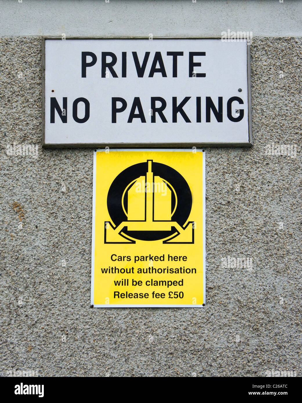 A private no parking sign, UK - Stock Image