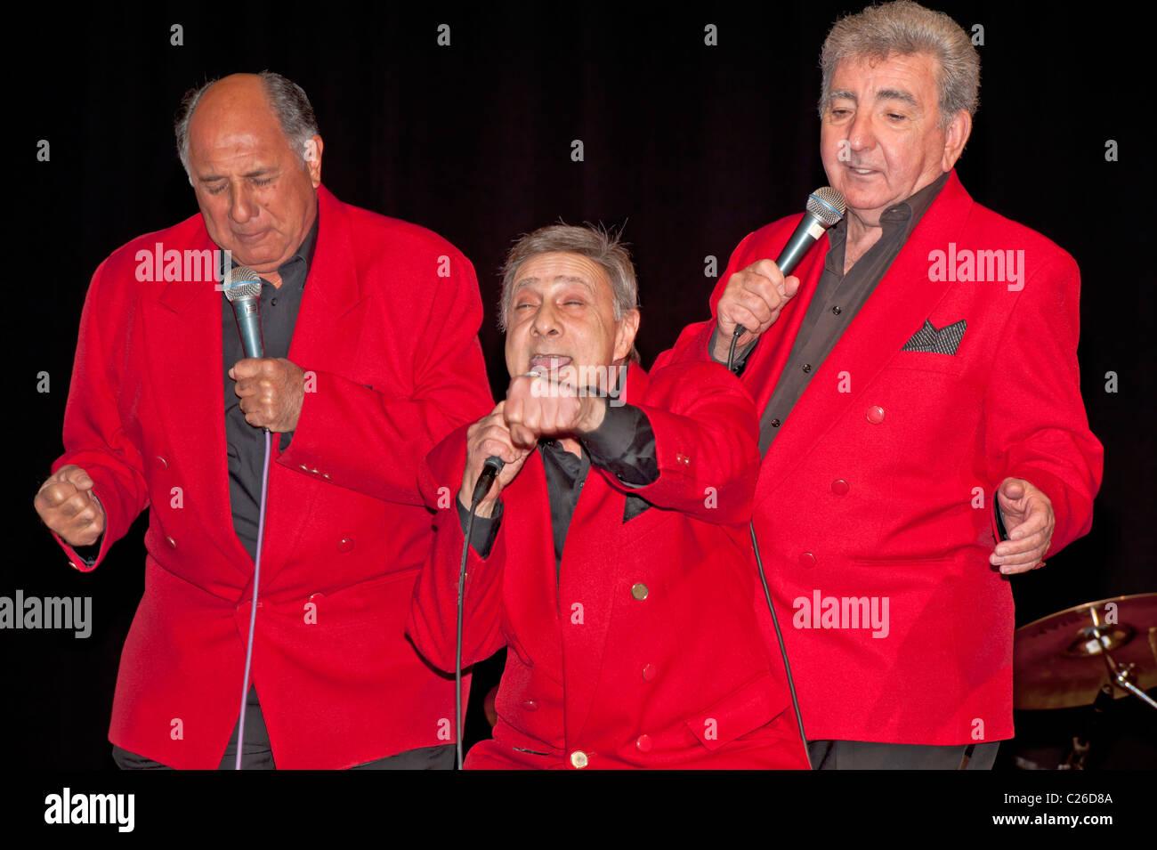 APRIL 2, 2011 - BELLMORE, NY: Danny and the Juniors (left to right) Bobby Maffei, Frank Maffei, and Joe Terry, Doo - Stock Image