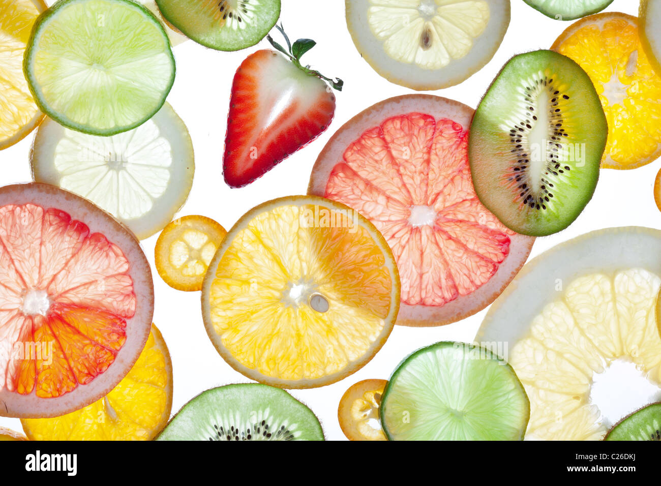 Back projected citrus slices. - Stock Image