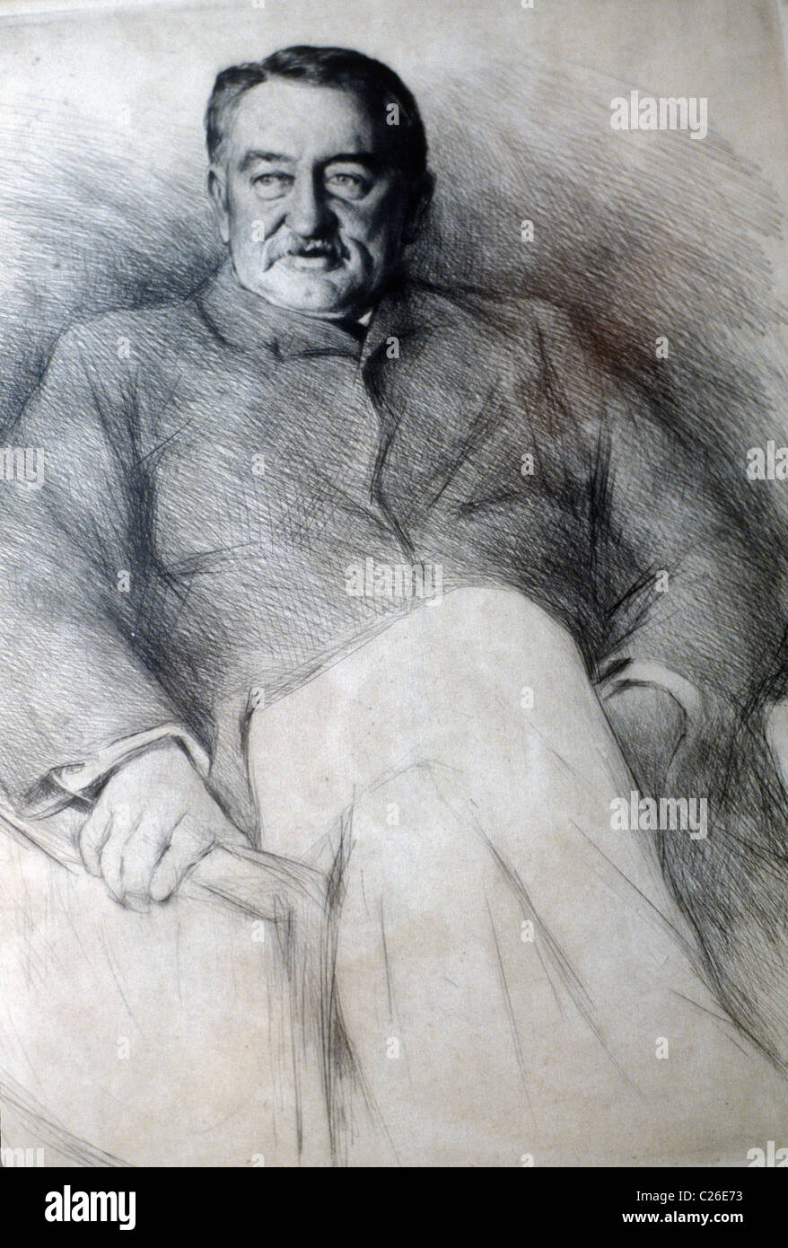Cecil Rhodes drawing. Oxford England. - Stock Image