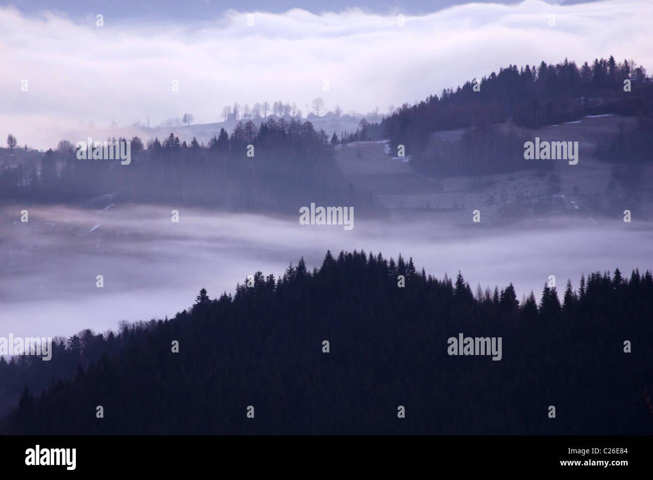 Morning fogs over the Carpathian Mountains, Poland - Stock Image