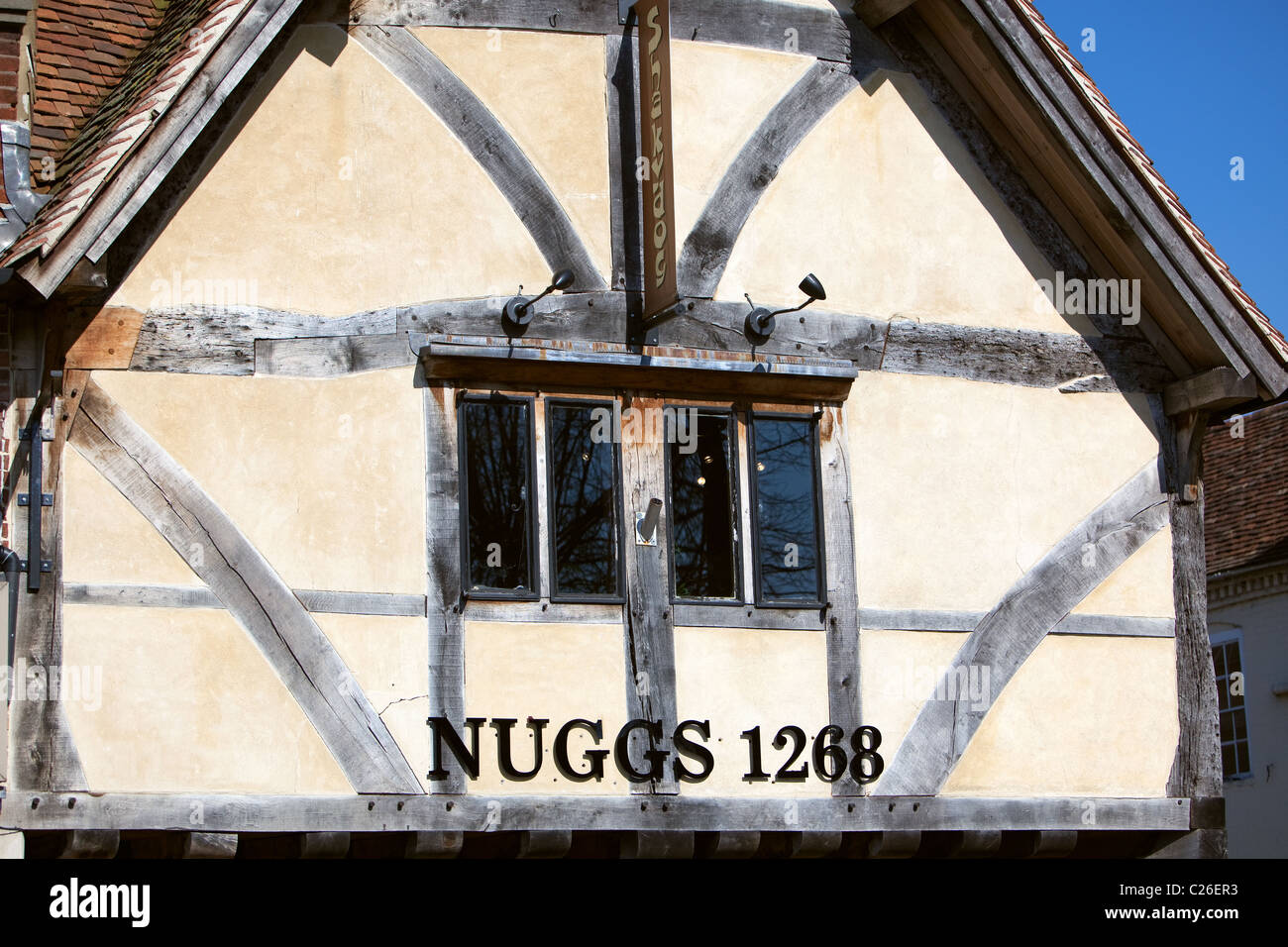 Restored Tudor timbered building in Salisbury city centre Wiltshire UK Stock Photo