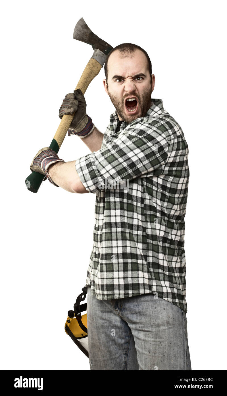 fine portrait of young caucasian lumberjack with axe - Stock Image