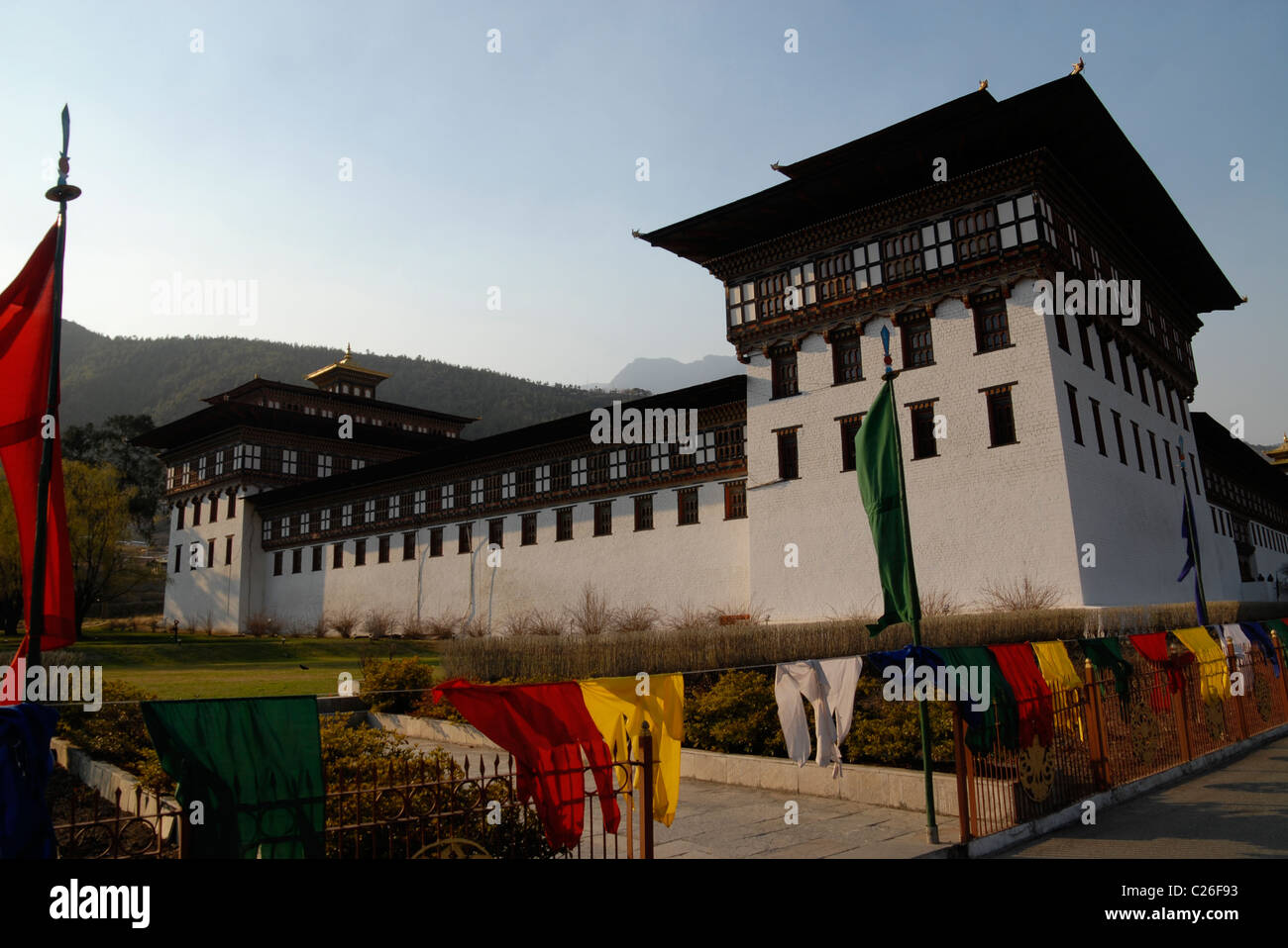 Outside Trashi Chhoe Dzong, Thimphu, Bhutan Stock Photo