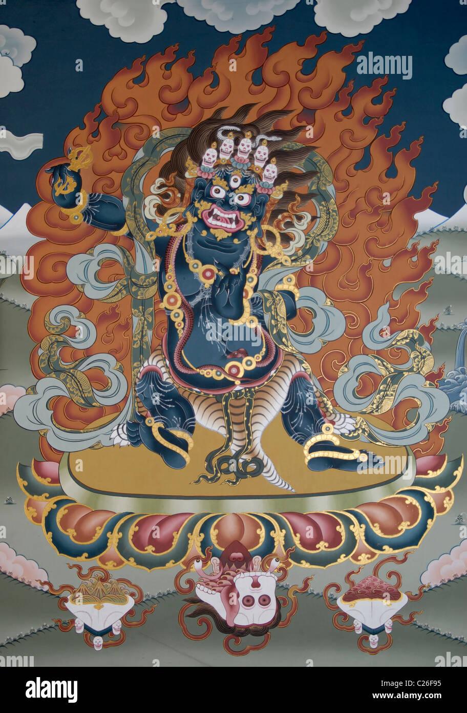 Painting at Trashi Chhoe Dzong, Thimphu, Bhutan Stock Photo