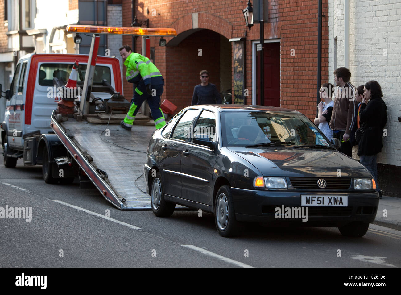 Roadside assistance to broken down car Salisbury England UK Stock Photo