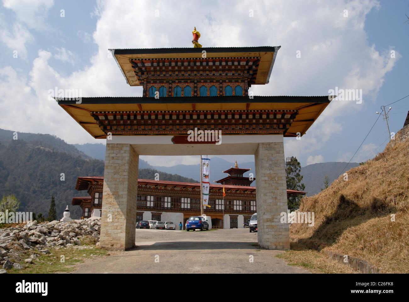 Entrance to the Dzong, Trashiyangtse, East Bhutan - Stock Image