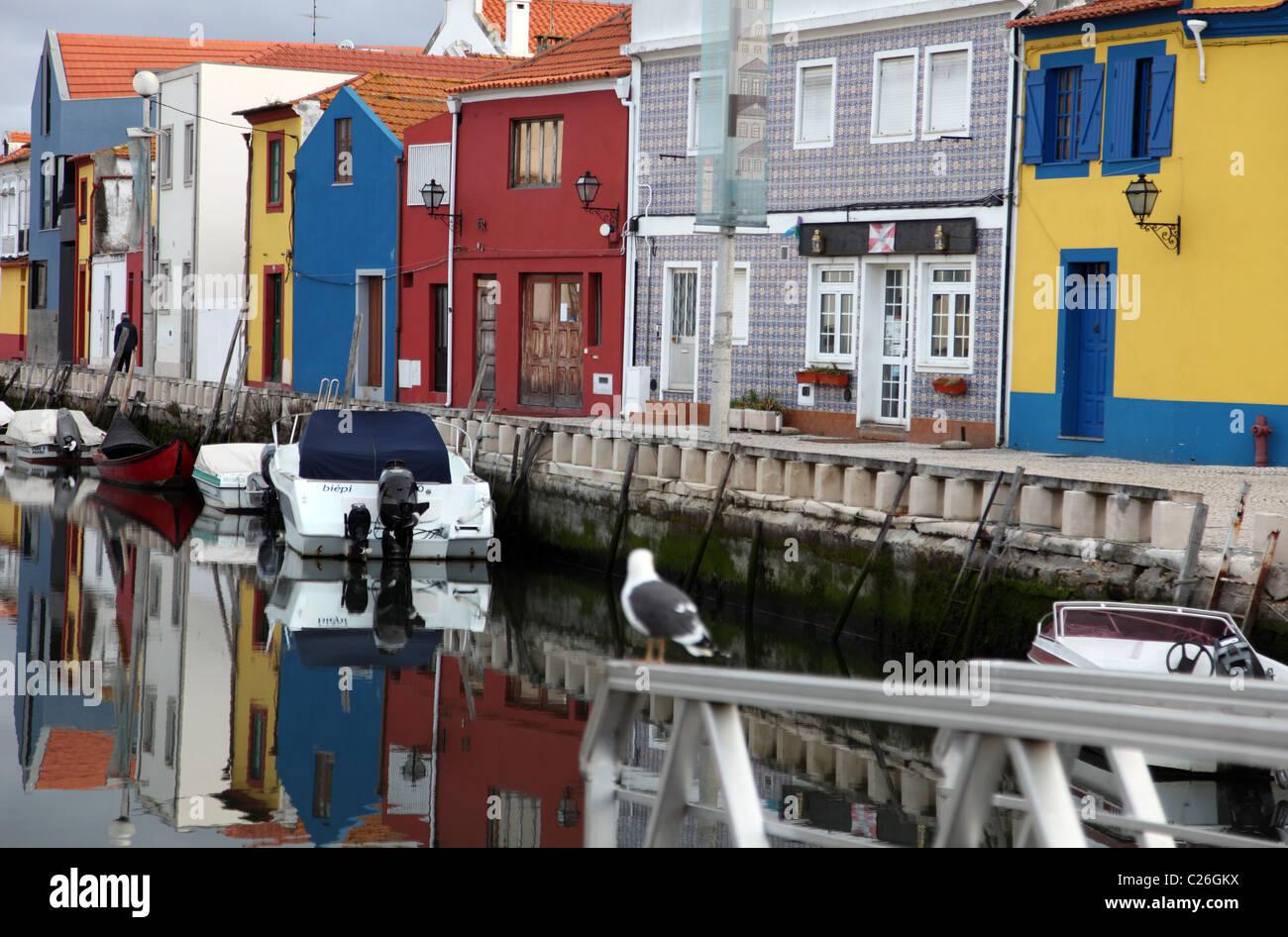 fishermens houses, Aveiro canal, Portugal Stock Photo