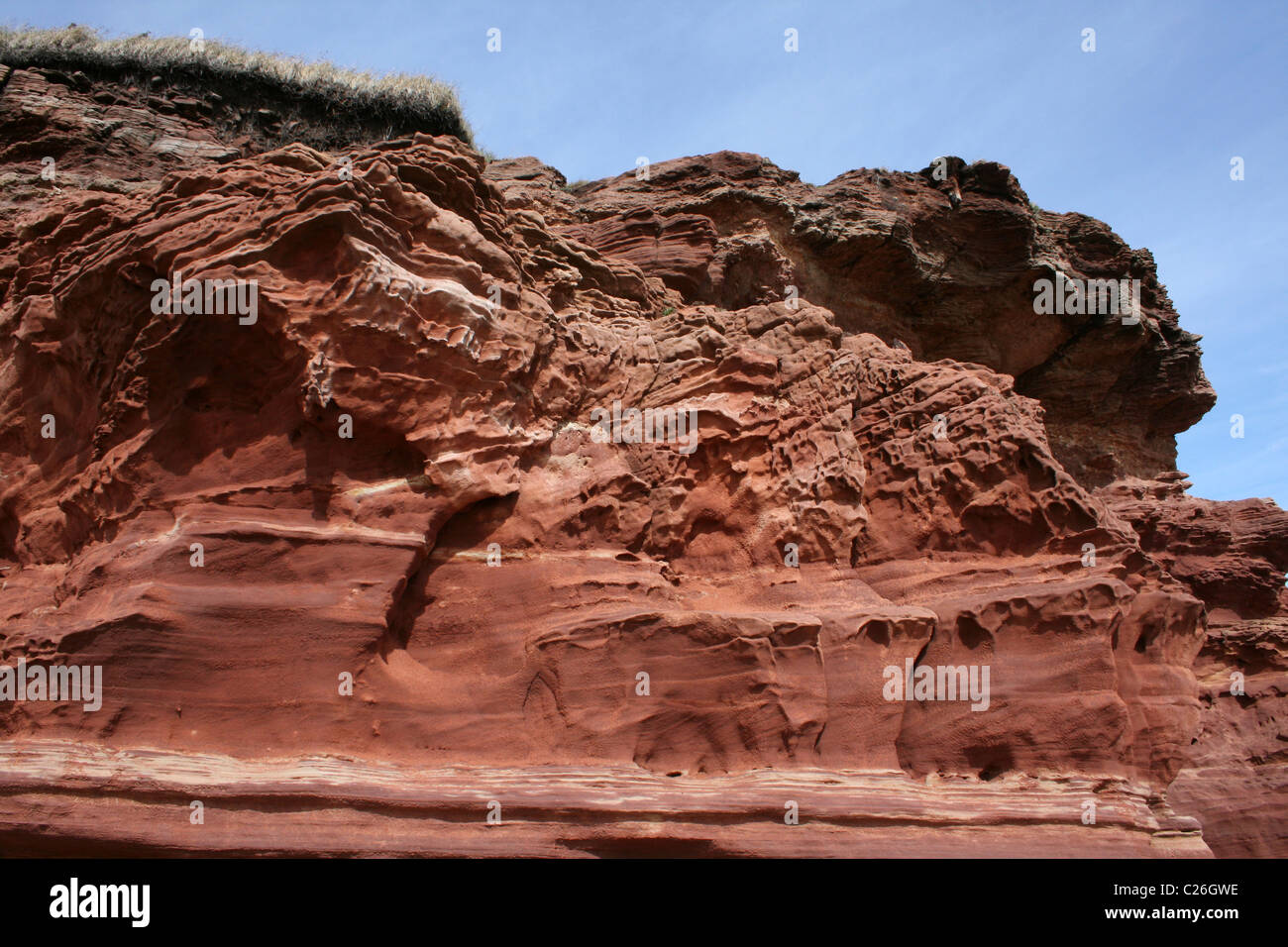 Wind Erosion On A Bunter Sandstone Cliff On Hilbre Island, The Wirral, Merseyside, UK - Stock Image