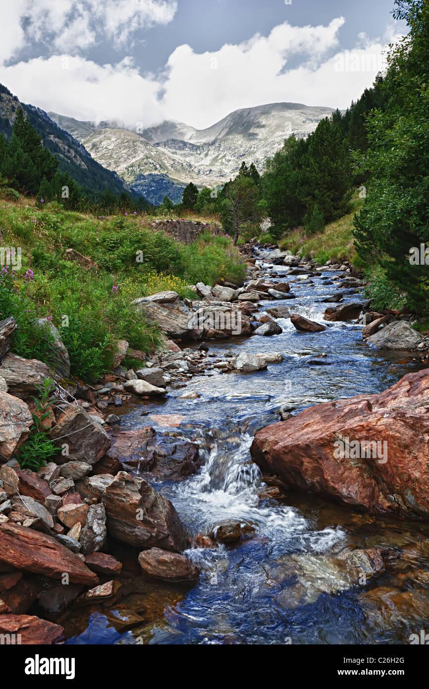 Mountain stream Coma de Ransol Andorra - Stock Image