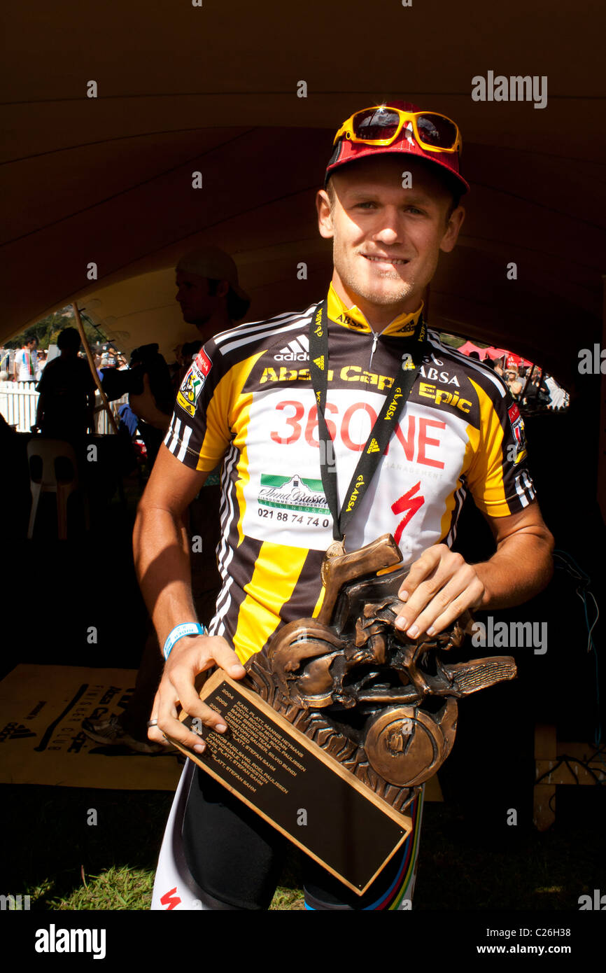 Burry Stander happy having received the trophy for the 2011 ABSA Cape Epic Stock Photo