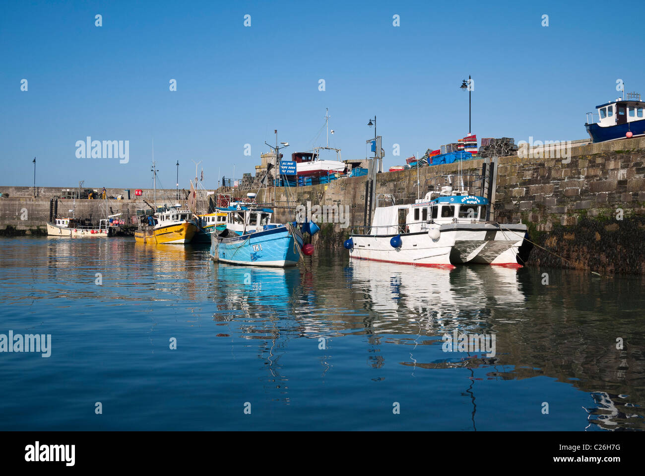 Fishing Boats in Newquay Harbour, Cornwall - Stock Image