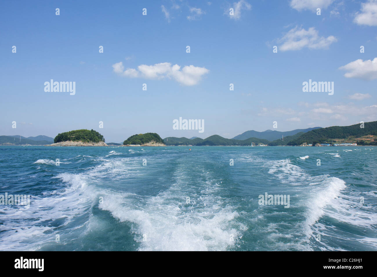 Two islets guarding Hansan Island harbor, South Korea - Stock Image