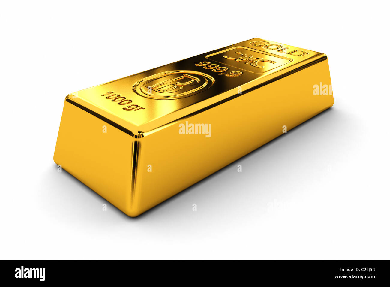 One gold bar - Stock Image