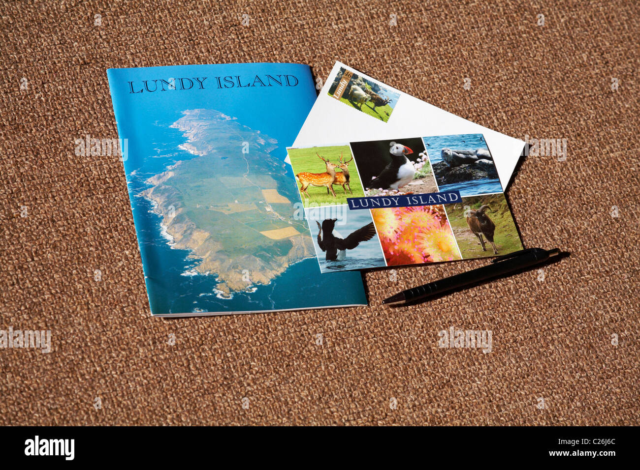Lundy Island postcards and souvenir book on Lundy Island, Devon, England UK in March - Stock Image