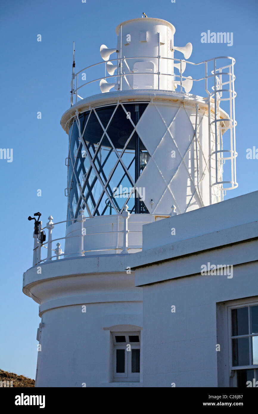 South lighthouse on Lundy Island, Devon, England UK in March - Stock Image