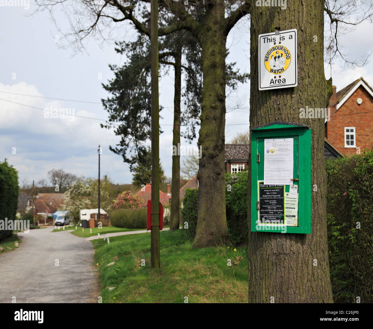 Neighbourhood Watch area sign and information. - Stock Image