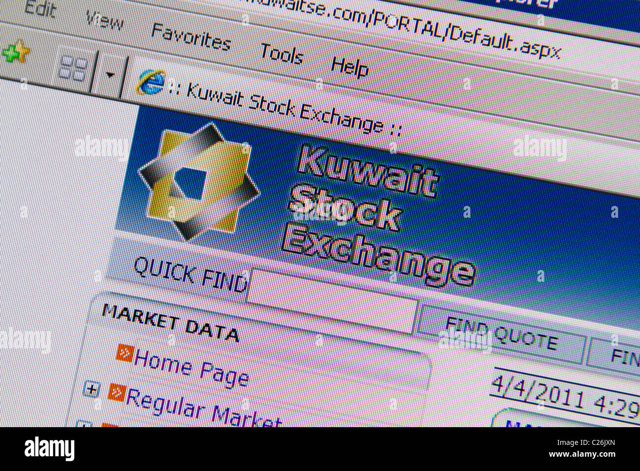 Kuwait Stock Exchange website - Stock Image