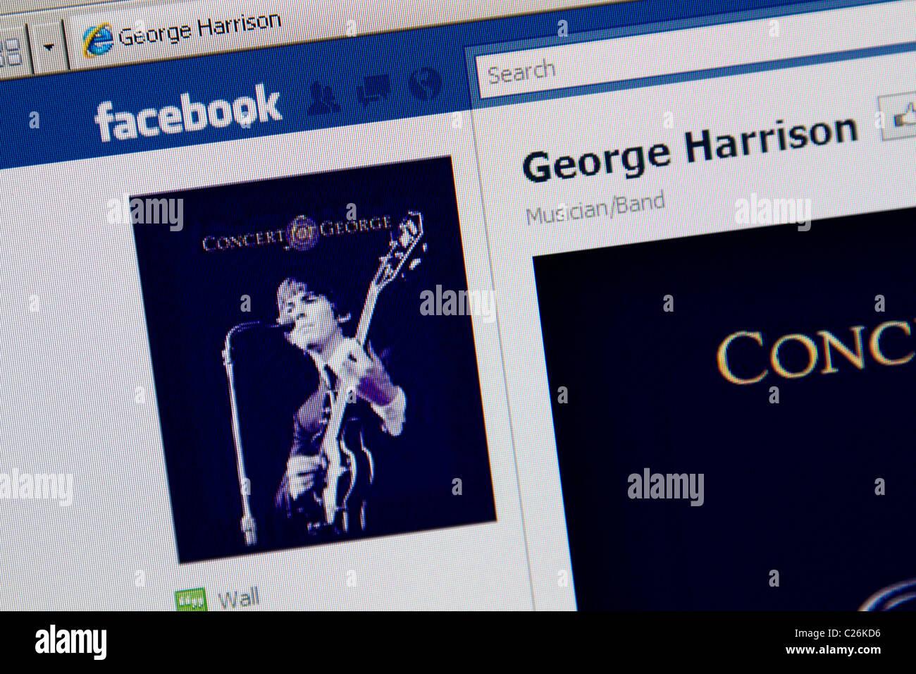 George Harrison online facebook fanpage - Stock Image