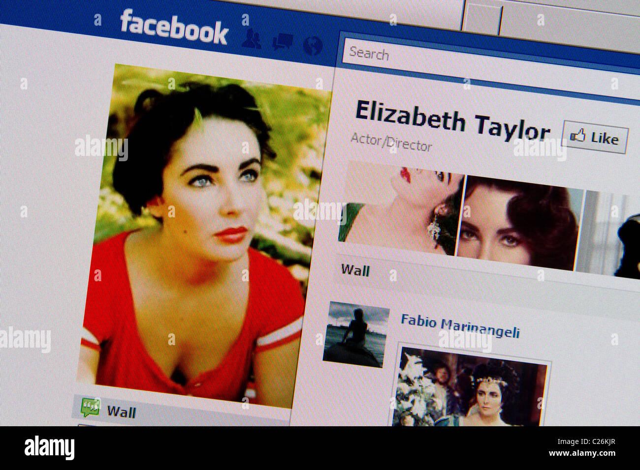 Elizabeth Liz Taylor facebook online fanclub - Stock Image