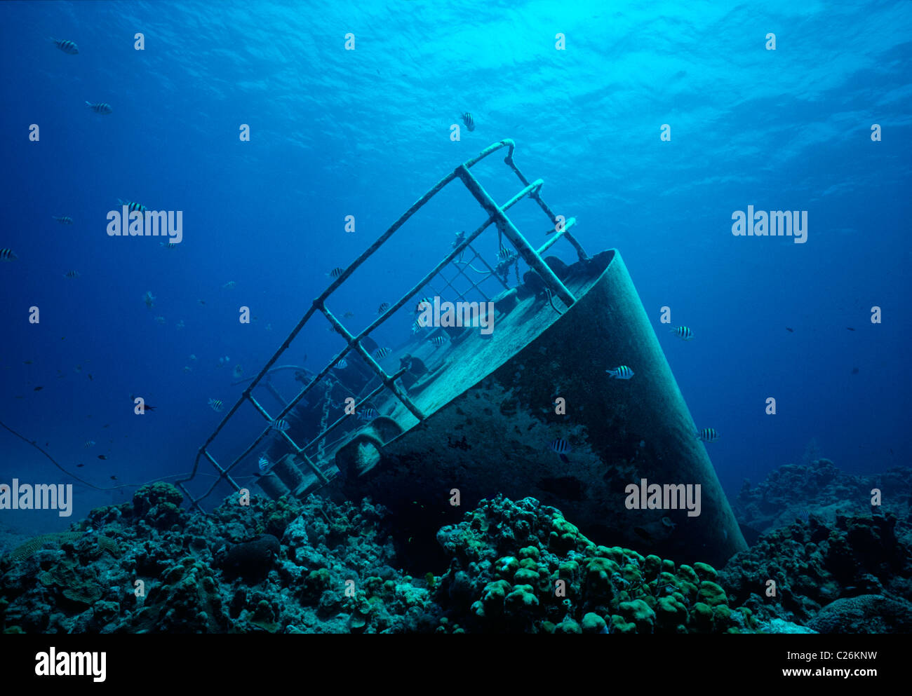 Shipwreck of the small freighter 'Ora Verde'. Grand Cayman Island, Caribbean Sea - Stock Image