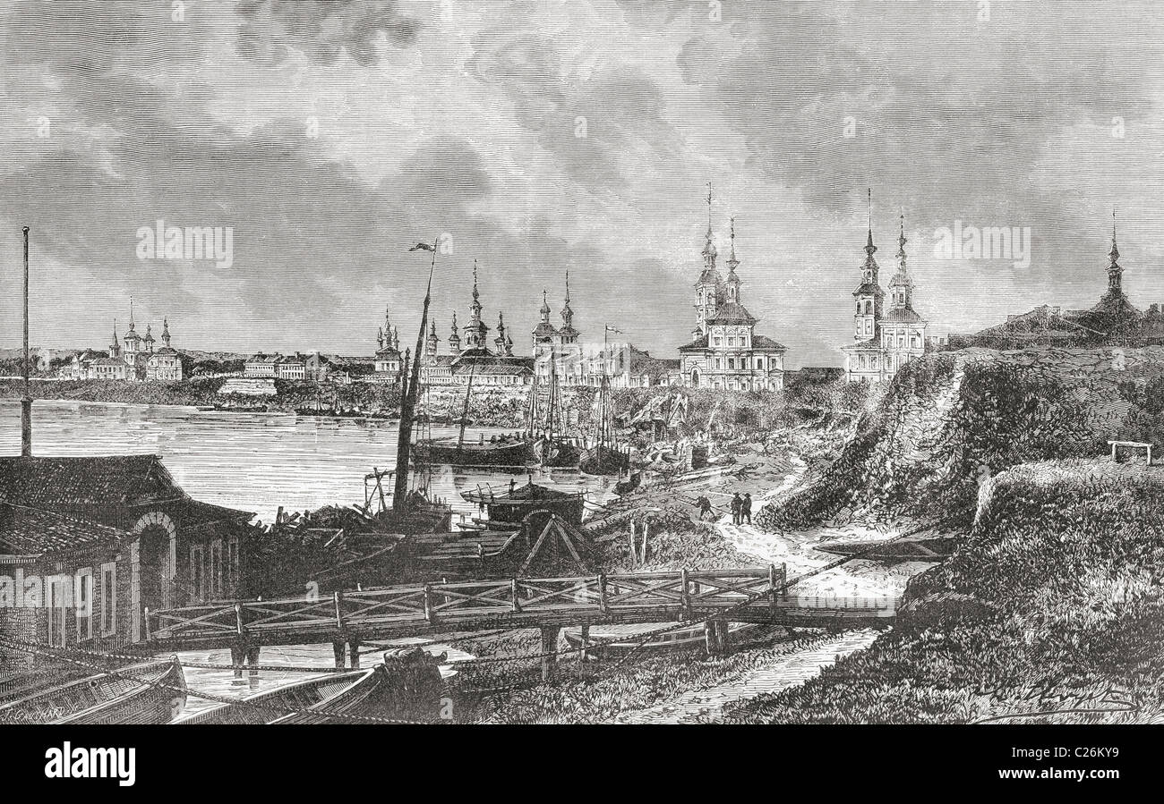 A view of Arkhangelsk, or Archangel, Russia, in the 19th century. - Stock Image