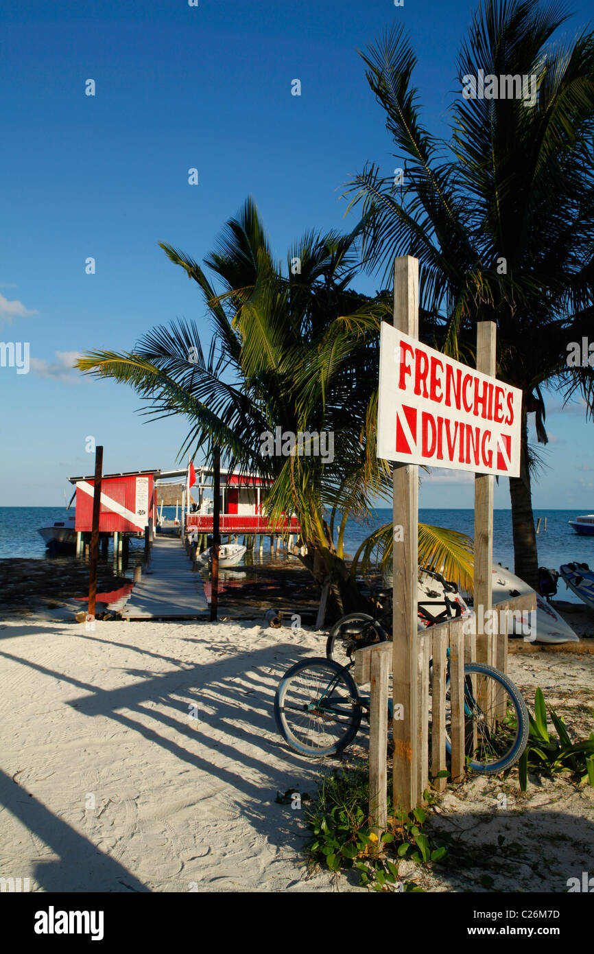 Restaurant And Diving Centre On Caye Caulker Beach On The Island Off