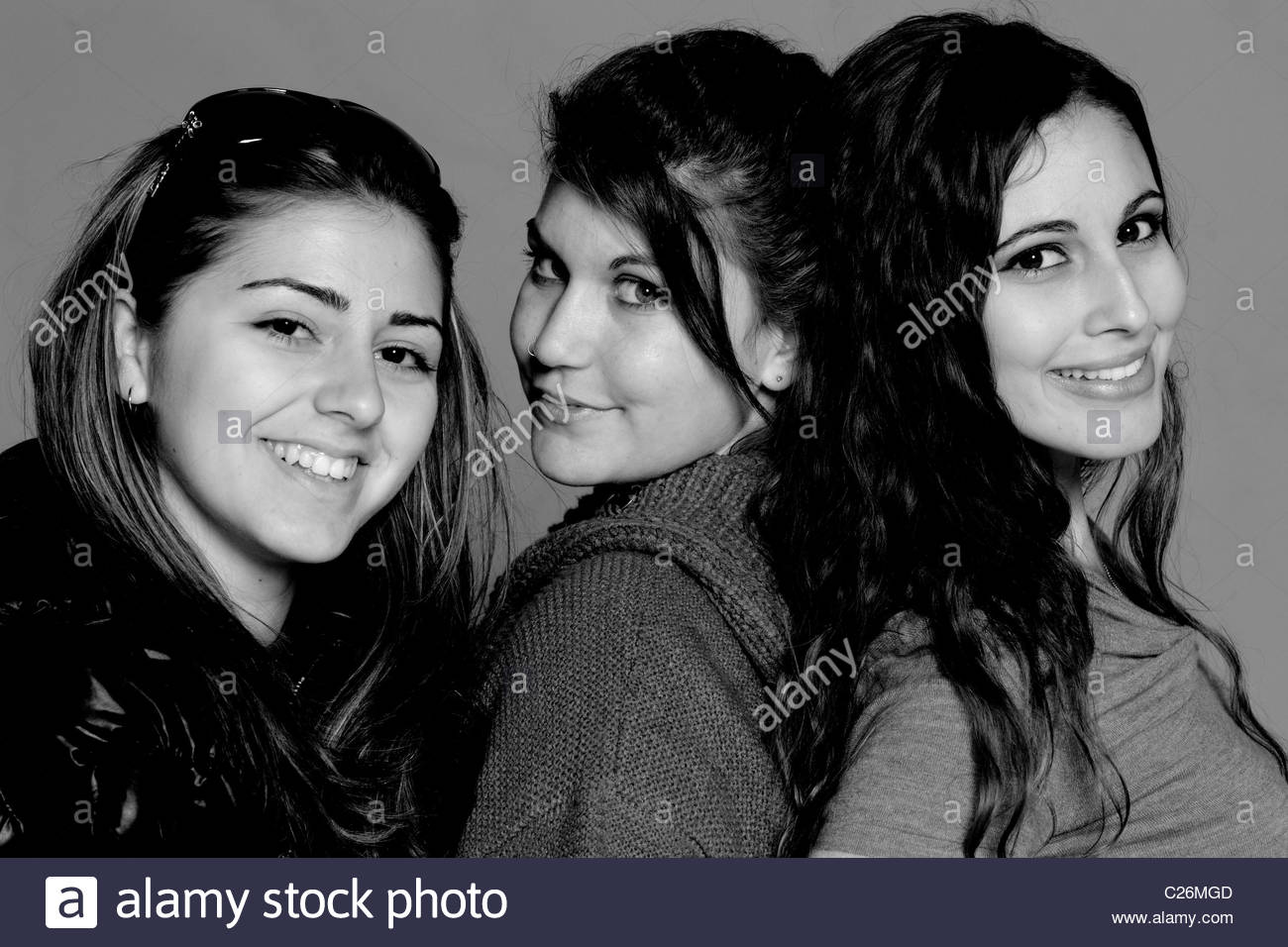Young women friends 3 three people - Stock Image