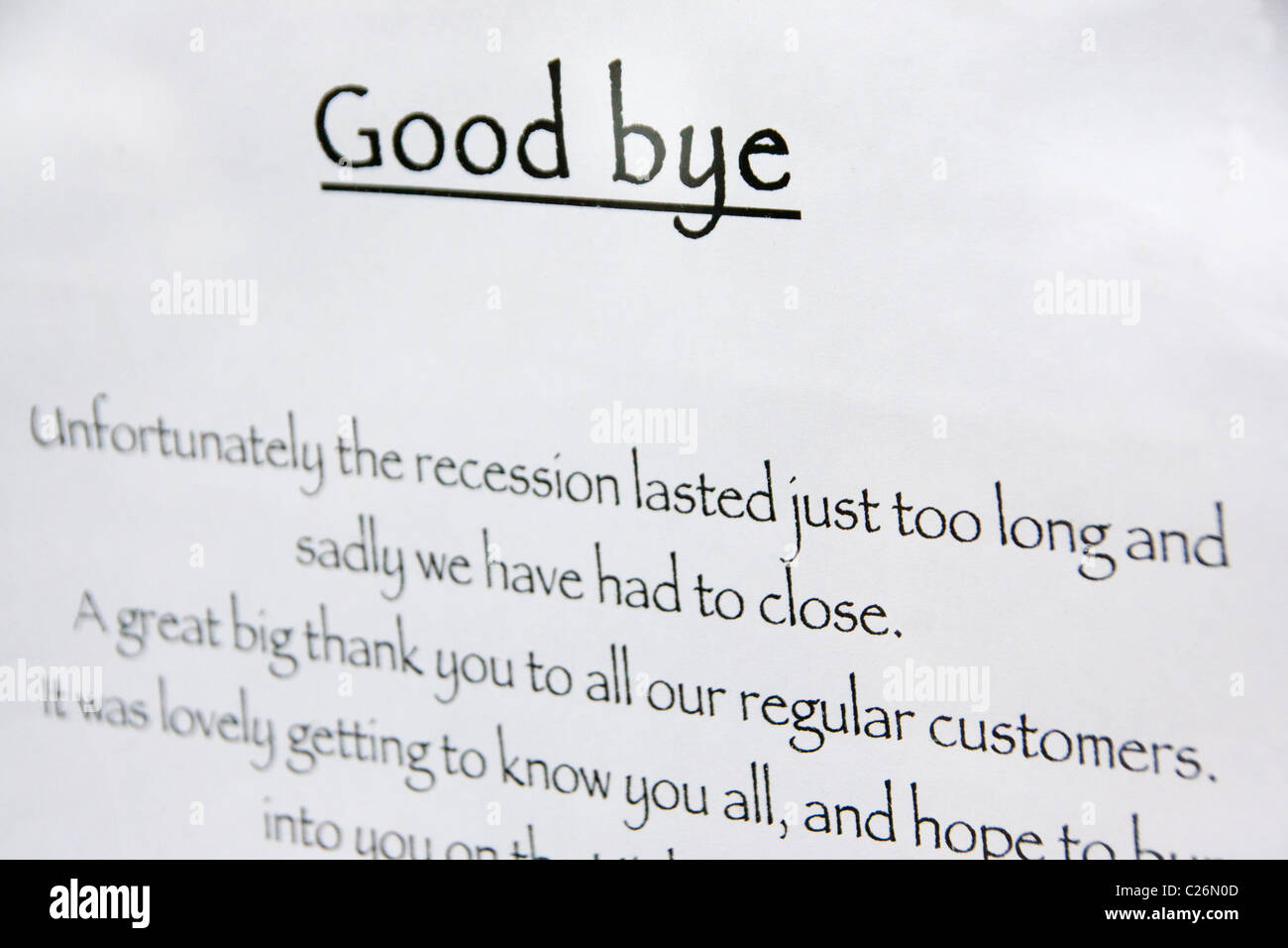Shop closure notice Closure due to lingering recession and economic crisis / downturn London England UK - Stock Image
